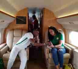 Tboss Flies In Private Jet With Ubi Franklin To Watch Nigeria - Zambia Match (Photos)